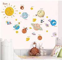 """Декоративная наклейка на стену в детскую комнату """"Планеты. Космос"""""""