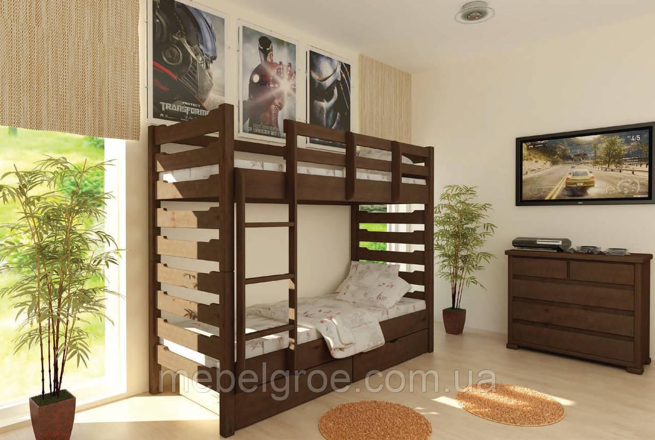 Деревянная двухъярусная кровать Троя 80 тм Mebigrand