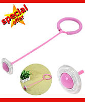 Нейроскакалка, скакалка на одну ногу, светящаяся крутилка с колесиком. Розовая