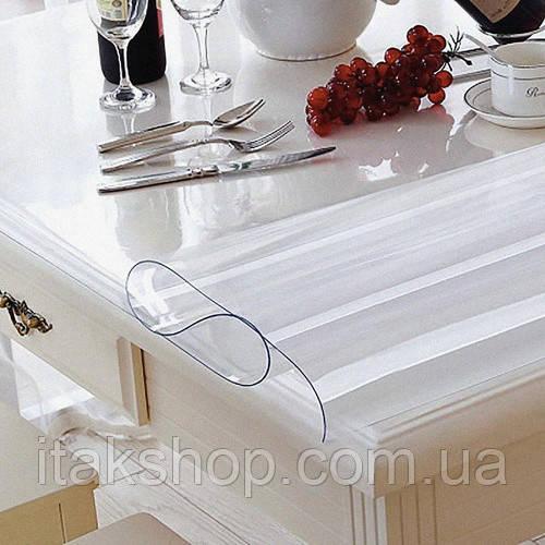 Силіконове м'яке скло (1.0х1.9м) Прозора захисна скатертини для столу і меблів Soft Glass