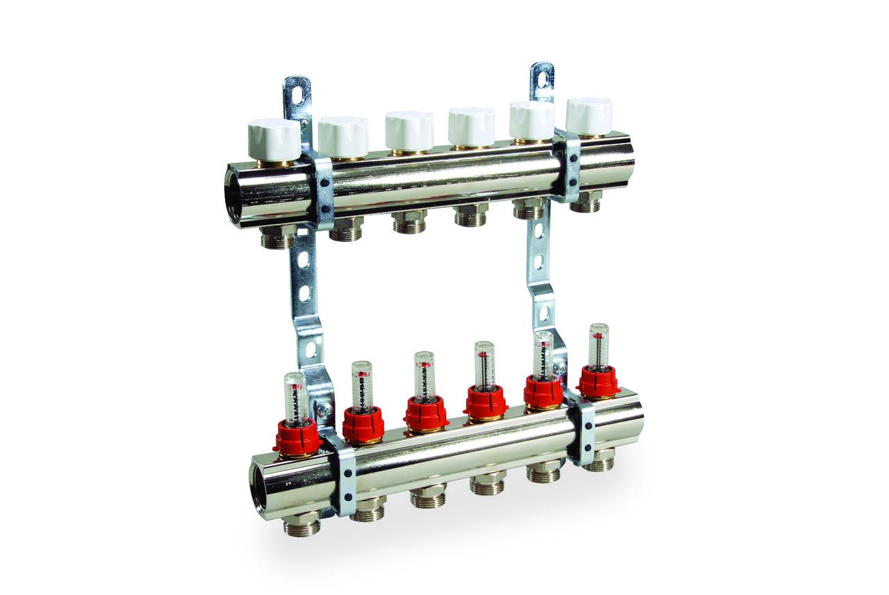 Коллектор в сборе для подключ. 11 контуров, с расход. и термоклап., в фабр. упак.
