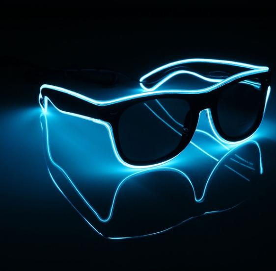 Очки светодиодные  солнцезащитные El Neon ray ice blue неоновые