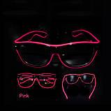 Очки светодиодные  прозрачные El Neon ray pink неоновые, фото 2