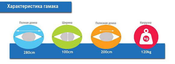 Гамак тканевый Оранжевый XL 200х100, фото 2