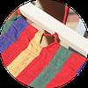Гамак тканевый с деревянными перекладинами Цветной  XL, фото 2