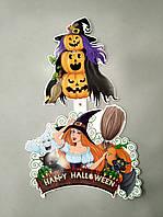 Декор гирлянда с ведьмой на хэллоуин 42 см