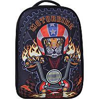 Рюкзак ранец школьный каркасный ортопедический для мальчика Bagland Turtle 17 л. Лев на Мотоцикле черный