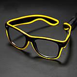 Очки светодиодные  прозрачные El Neon ray yellow неоновые, фото 2