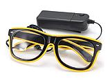 Очки светодиодные  прозрачные El Neon ray yellow неоновые, фото 3