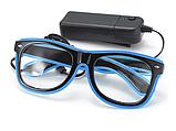Очки светодиодные  прозрачные El Neon ray blue неоновые, фото 2