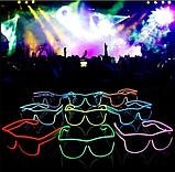 Очки светодиодные  прозрачные El Neon ray blue неоновые, фото 4