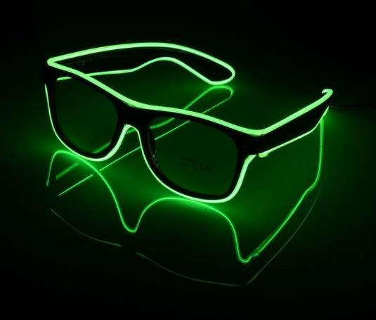 Очки светодиодные прозрачные El Neon ray green неоновые