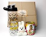 """Подарочный набор  """"Настоящей блондинке"""": бутылка для воды, консервированные носочки, игрушка зайчик-талисман, фото 2"""