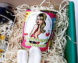 """Подарочный набор  """"Настоящей блондинке"""": бутылка для воды, консервированные носочки, игрушка зайчик-талисман, фото 3"""