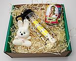 """Подарочный набор  """"Настоящей блондинке"""": бутылка для воды, консервированные носочки, игрушка зайчик-талисман, фото 9"""