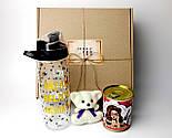 """Подарочный набор женский """"Модной брюнетки"""": бутылка для воды, консервированные носочки, игрушка мишка-талисман, фото 2"""