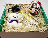 """Подарочный набор женский """"Модной брюнетки"""": бутылка для воды, консервированные носочки, игрушка мишка-талисман, фото 8"""