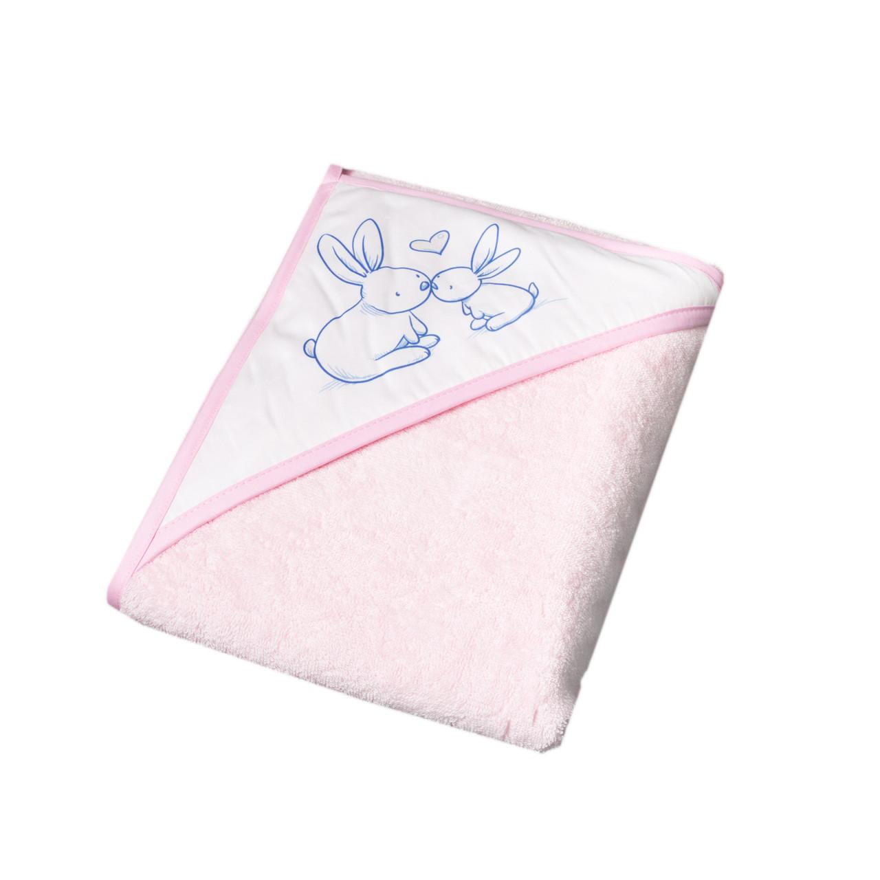 Полотенце с капюшоном КРОЛИКИ 100*100 см Tega Baby Розовый