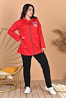 Женский спортивный костюм   двунитка на змейке кофта с капюшоном большие размеры  50-52,54-56,58-60,62-64, фото 1