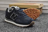 Кроссовки мужские New Balance 574 синие, Нью Баланс 574, натуральная замша, сетка, прошиты. Код TD-9163