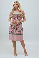 Летнее розовое свободное платье масло 50,54,56,58