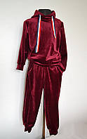 Спортивный детский костюм на девочку от 4 до 8 лет, бордовый