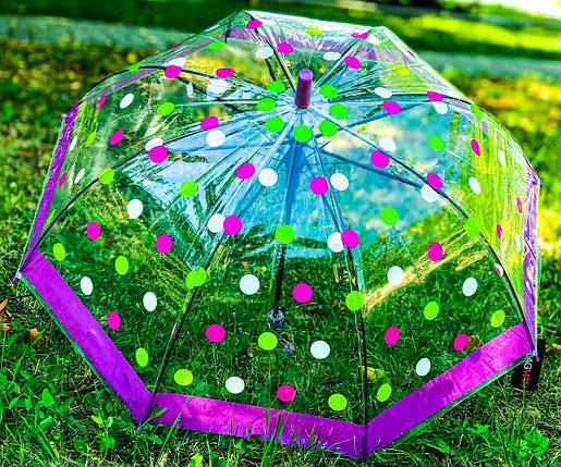 Зонт трость детский Flagman с рисунком «Горошек» на 4-7 лет (1221306328), фото 2