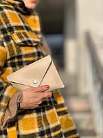 Сумка клатч женская модная на пояс маленькая из экокожи бежевая, фото 1