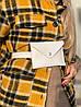 Сумка клатч женская модная на пояс маленькая из экокожи белая