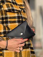 Сумка клатч женская модная на пояс маленькая из экокожи черная, фото 1