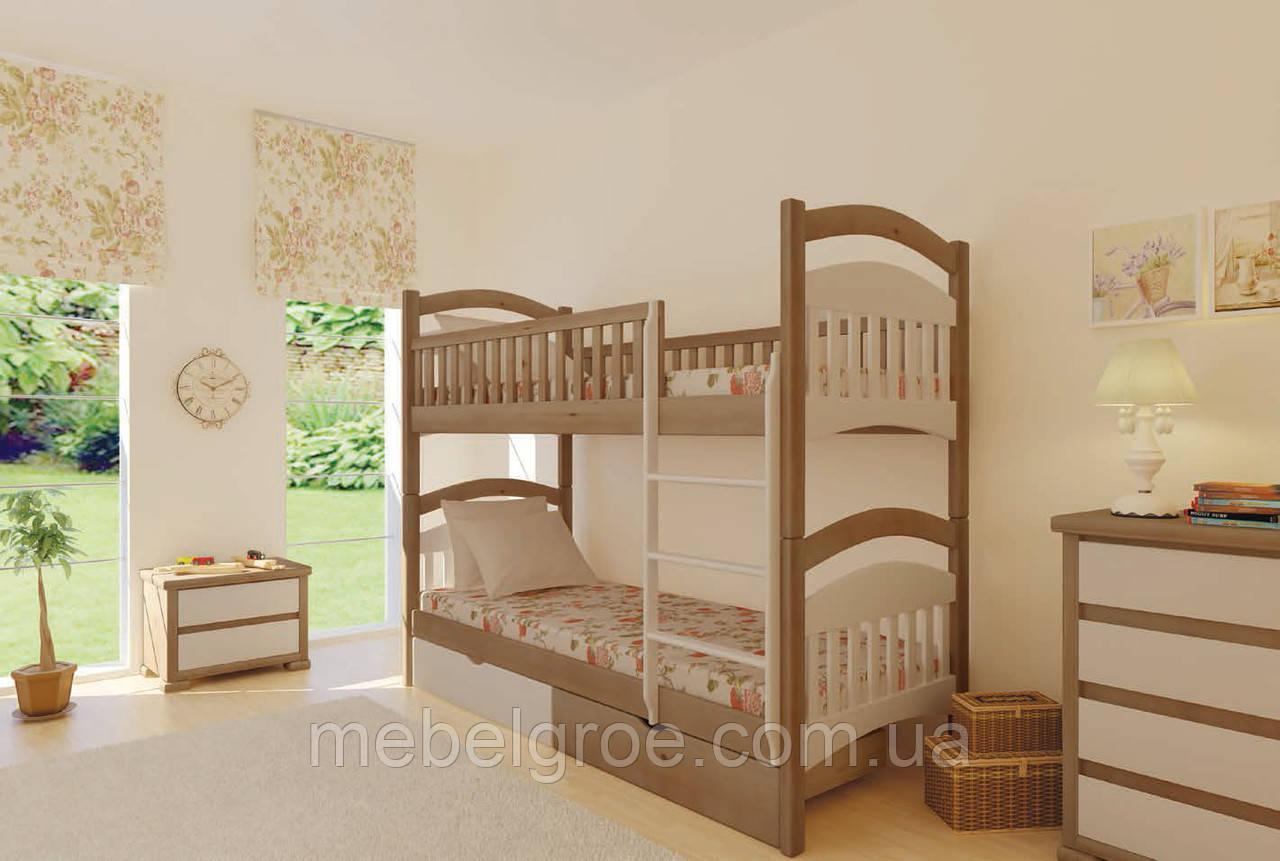 Деревянная двухъярусная кровать Жасмин 80 тм Mebigrand