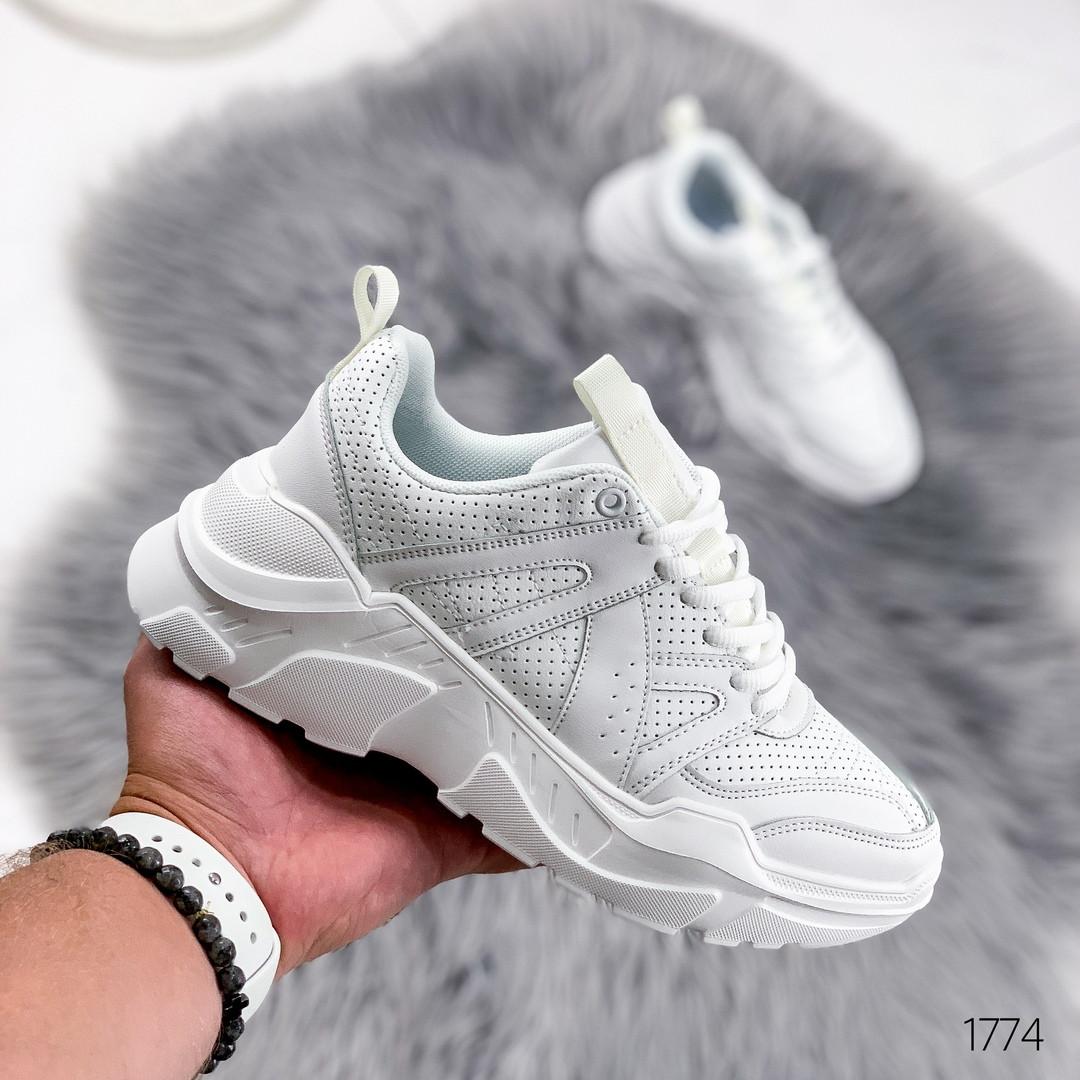 Кроссовки женские белые эко кожа легкие белые шнуровка