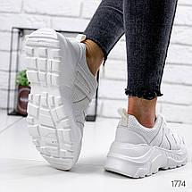 Кроссовки женские белые эко кожа легкие белые шнуровка, фото 2
