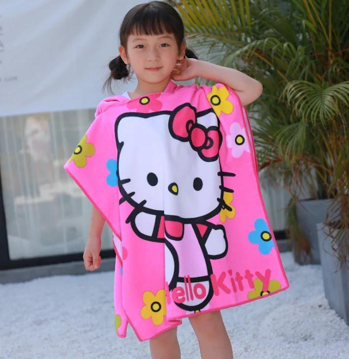 """Детское пляжное полотенце - пончо """"HELLO KITTY"""""""