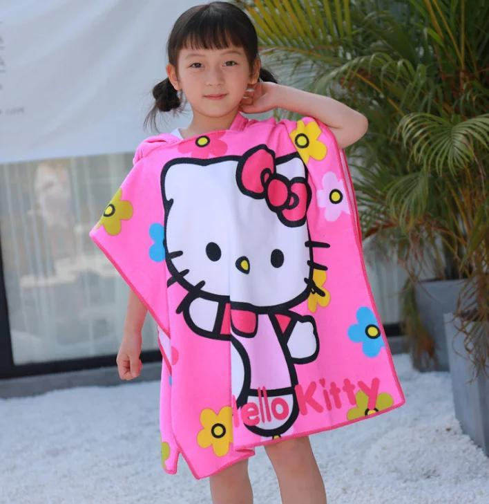 "Дитячий пляжний рушник - пончо ""Котик"""