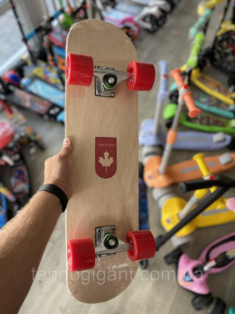 """Скейт деревянный, Скейтборд """" Canada 100 % """" , натуральный канадский клен, широкие колеса, супер качество"""