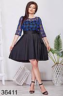 Вечернее приталенное платье с кружевом р. 50, 52, 54, 56