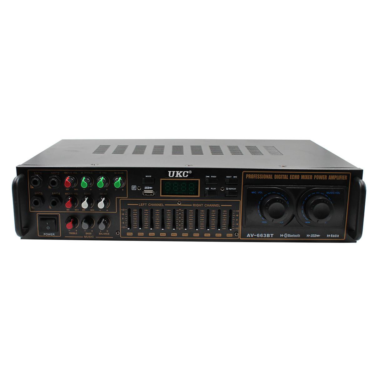 Усилитель звука UKC AMP AV-663 BT Bluetooth AC/DC 12V