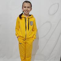 Детский спортивный костюм на девочку из трикотажа, жёлтый (рост 134-158)