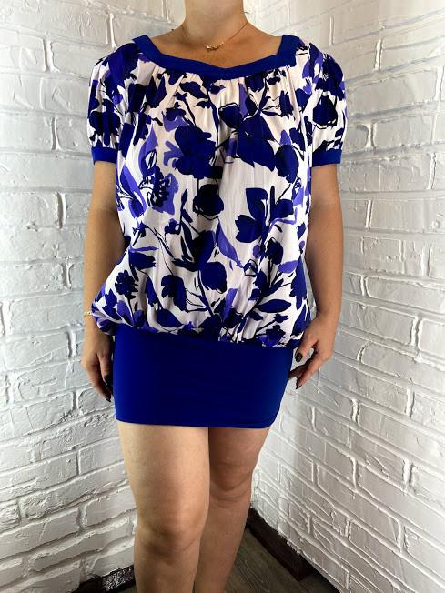 Платье-туника  женская батальная LILU бело-синяя 50,52