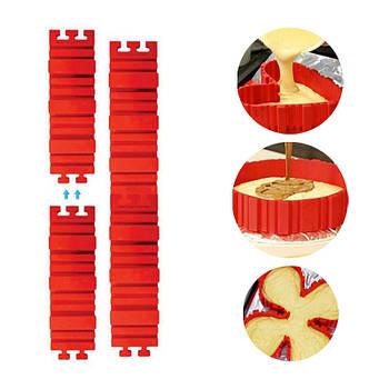 Форма трансформер Lesko Magic Snake Red силиконовая для выпечки набор из 4-х элементов