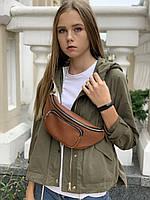 Поясная сумка бананка женская средняя городская непромокаемая из экокожи коричневая, фото 1