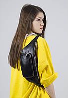 Поясная сумка бананка женская средняя городская непромокаемая из экокожи черная, фото 1