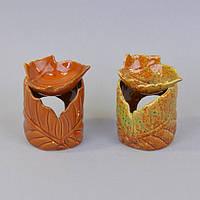 """Аромолампа для ефірних масел """"Листочок"""" CY630, кераміка, 10х8 см, в коробці, аромалампи, аромо-лампа, аромо лампа для релаксу"""