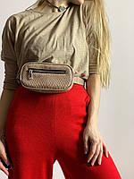 Сумка поясная клатч женская городская из экокожи овальная бежевая, фото 1