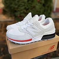 Кросівки чоловічі New Balance 574 білі з червоним (ТОП репліка), фото 1