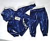 Спортивный детский костюм с ушками на девочек от 1 до 4 лет, синего цвета