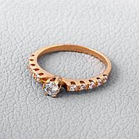 Помолвочное кольцо с фианитом золотое ГП20930