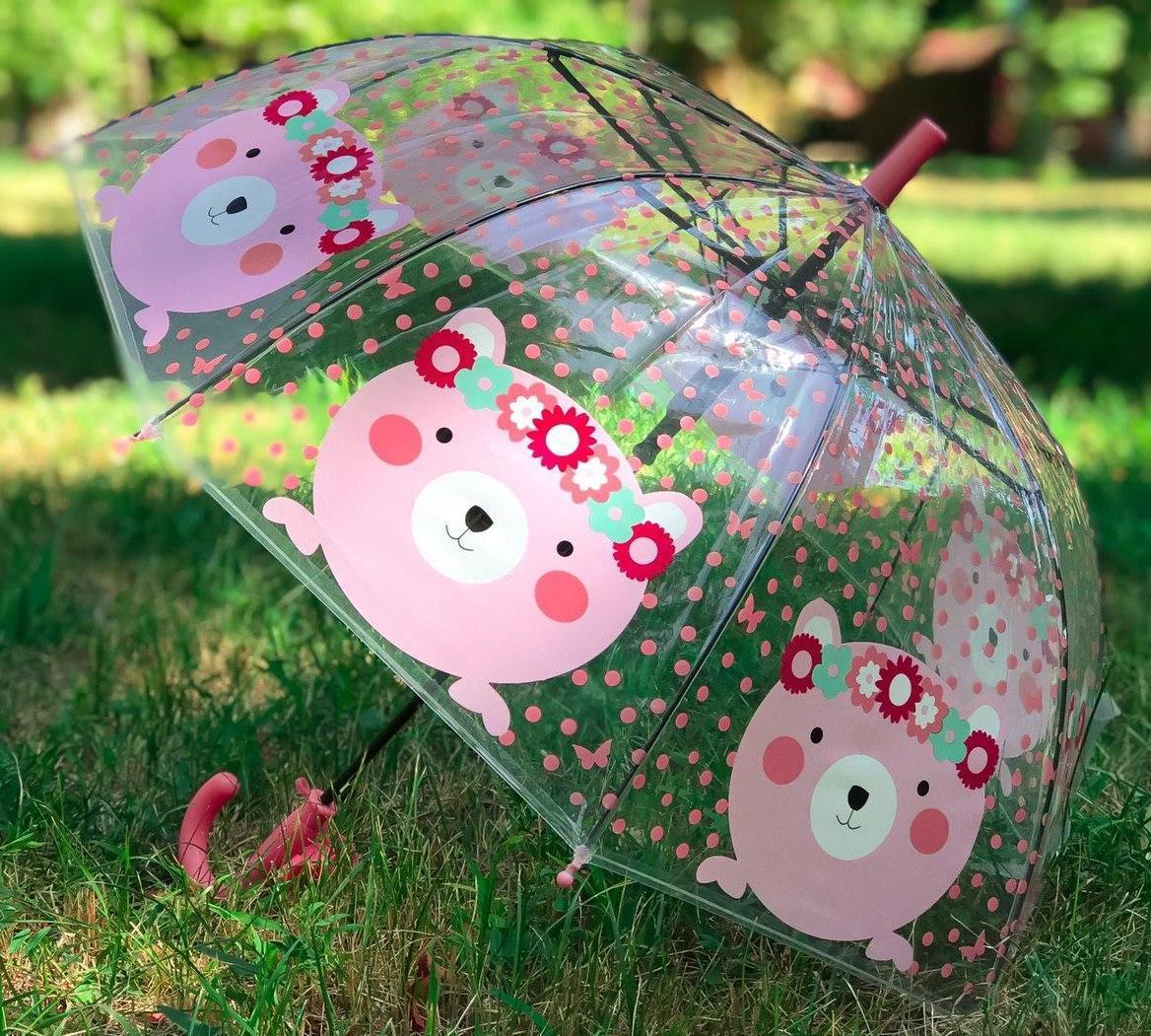 Зонт трость дитячий для дівчинки напівавтомат прозорий Mario з малюнком «Ведмедик» на 4-7 років. Дитячий парасольку.