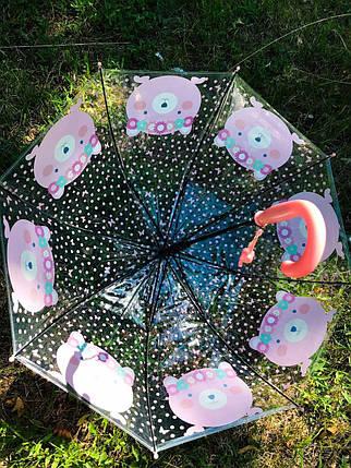 Зонт трость дитячий для дівчинки напівавтомат прозорий Mario з малюнком «Ведмедик» на 4-7 років. Дитячий парасольку., фото 2